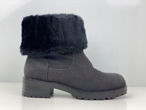 River Island Womens Black Faux Leather Faux Fur Lined Ankle Boot UK Size 4