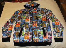 BBC Doctor Who Mens Comic Printed Zip Up Hoodie Jumper Top Size L New