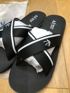 Brand new  Armani Jeans canvas cross sliders in Black  Size Uk9.5 / Eu 44