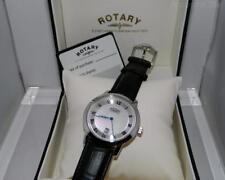 Rotary Para Hombre De Acero Inoxidable Cuarzo Reloj de fecha Cuadrante Romano en Negro Correa De Cuero