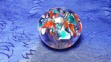 """Glass Paper Weight Red White Blue floral Design 2.5"""""""