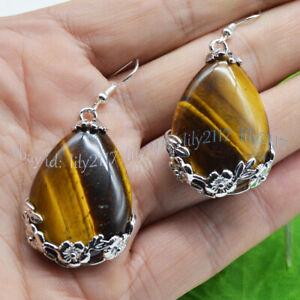 Tibet 925 Silver Drop Genuine Yellow Tiger's Eye Flowers Gemstone Hook Earrings