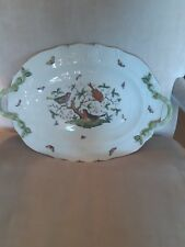 Herend Bird Rothschild Large Serving Platter Oval 18 inches with branch handles