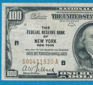 $100. 1929  NEW YORK BROWN SEAL FEDERAL RESERVE BANK NOTE