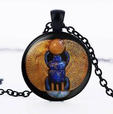 Glass Black Chain Pendant Necklace Vintage Egyptian Scarab, Photo Cabochon