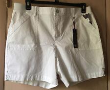 Gloria Vanderbilt Womens Crystal White Cotton Shorts Casual Summer Size 14