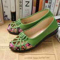 Chic New Womens Pumps Summer Floral Canvas Slip On Cotton Hollow Out Flats Shoes