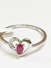 Natural Ruby and Diamond 9k White Gold Heart Ring