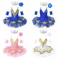 Kids Girls Ballet Dress Shoulder Straps Shiny Swan Tutu Skirts Dancewear Costume