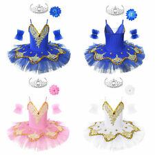 Kids Girls Ballet Dress Shiny Swan Dance Tutu Skirts Leotard Performance Costume