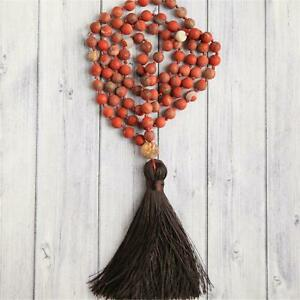 Romantic Red Jasper 108 Beads Handmade Tassel Necklace Japa Tibetan Spiritua