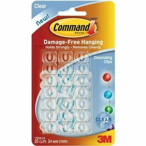 3M Command Decorating Hooks Clips Self-Adhesive Strips Wall Hanging Fairy Lights