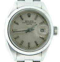 Rolex Date Ladies Stainless Steel Watch Oyster Domed Bezel Silver Dial 6916