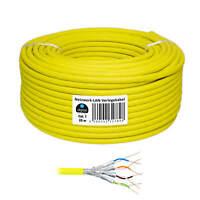 25m Verlegekabel Kupfer Cat 7 Netzwerk LAN Kabel S/FTP Cat7 Ethernet Gelb CCA