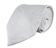 Mariage Blanc Cravate-Homme Cravate Satin Argent Gris-Jacquard Floral Motif Cachemire Soie