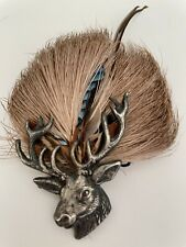 Stag Head Pin with Fur and Feather.  Hunting Style  Handmade  Vintage