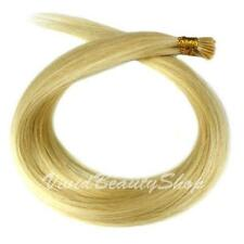 100 I Stick Glue Tip Straight Remy Human Hair Extensions Light Golden Blonde #24