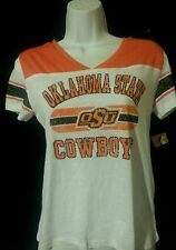 Oklahoma State Cowboys Women's Distressed Crop V-Neck T-Shirt Size S 4/6