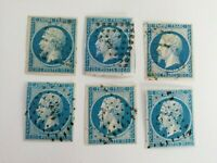 France Lot of 6 x Scott #15 Used imperforated