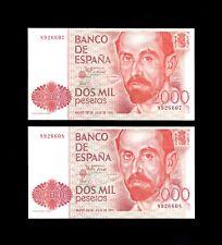 F.C. PAREJA CORRELATIVA 2000 PESETAS 1980 , SIN SERIE , S/C .