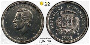 1987 Dominican Republic 10 Cent PCGS SP64 Kings Norton Mint Proof