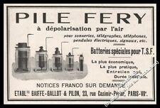 Publicité Piles FERY Batteries TSF Poste radio Vintage print Ad Advert 1923