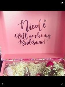 Large name vinyl transfer wedding box bridesmaid gift box personalised sticker