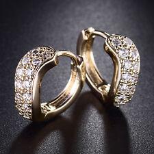 Wave Curve Ribbon Huggie Yellow Gold Filled Crystal Women Wedding Hoop Earrings