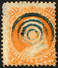 #71 30c Orange 1861 Used with Blue Target Cancel, Faults