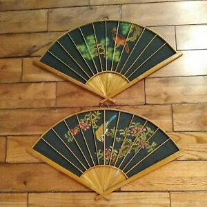 """2 Vintage Oriental Hand Painted Cloth Bamboo Wall Art Decor Large Fan 27"""" RARE"""
