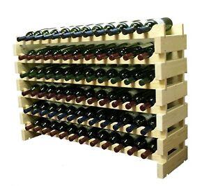 Stackable Wine Rack Storage 72 Bottles, Cellar Display Shelves, Thick Cut Wood