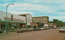 Downtown Shopping Area on Genesee Street in Iron River MI Postcard