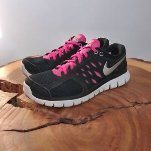 Nike Womens Flex 2013 Run 580440-003 Black Pink Running Shoes Lace Up Size 8.5
