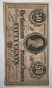 1863 T-63 50¢ Cents Confederate (CSA) Note Paper Money Currency