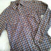 Wrangler vintage pearl snap shirt plaid red blue yellow western collar long slv