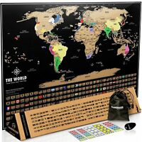 World Map Poster Original Travel Tracker Map Print Flags States Outlined Colours