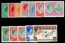 ST KITTS-NEVIS SG68a-77f, COMPLETE SET, LH MINT. Cat £80.