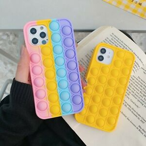 Relief Stress Anxiety Silicone Phone Cases For iPhone 12,11 Pro Max Case Rainbow