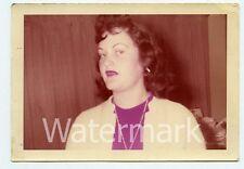 1950s color snapshot photo  Closeup of Lady