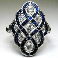Sapphire&White Topaz 925 Silver Women Jewelry Wedding Engagement Ring Happiness