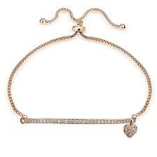 Rose Gold Tone on Sterling Silver Cubic Zirconia Heart & Bar Adjustable Bracelet