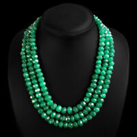 VERY ATTRACTIVE 787.00 CTS NATURAL 3 LINE FACETED GREEN EMERALD BEADS NECKLACE