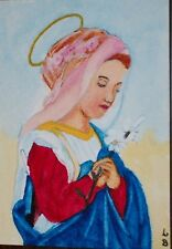 "ACEO-ORIGINAL PAINTING ""THE YOUNG VIRGIN"" BY ME THE ARTIST LB"