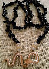 "Black Onyx Chips Italian Glass Golden Snake Necklace Balance Healing 30"""