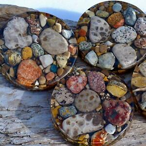 Premium Shoreline Petoskey Stone Coaster | Lake Michigan | Great Lakes | Gift