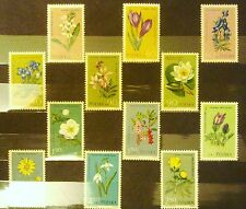 POLAND STAMPS MNH 1Fi1177-88 Sc1066-77 Mi1325-36 - Protected flowers, 1962, **