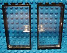 LEGO  LEGOS  -  Set of 2 NEW Door & Frame 1 x 4 x 6 BLACK / CLEAR
