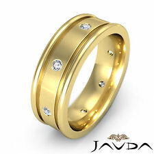 Mens Dome Round Diamond Eternity Wedding Band 14k Yellow Gold Solid Ring 0.15Ct