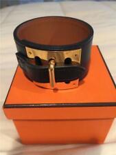 "Hermes Black Leather Bracelet w/ Palladium Plated Hardware ""Intense"" Size M"