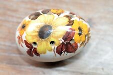 Vintage Sallie Robinson Egg Shaped & Sized Ceramic Pomander Cream Floral Design